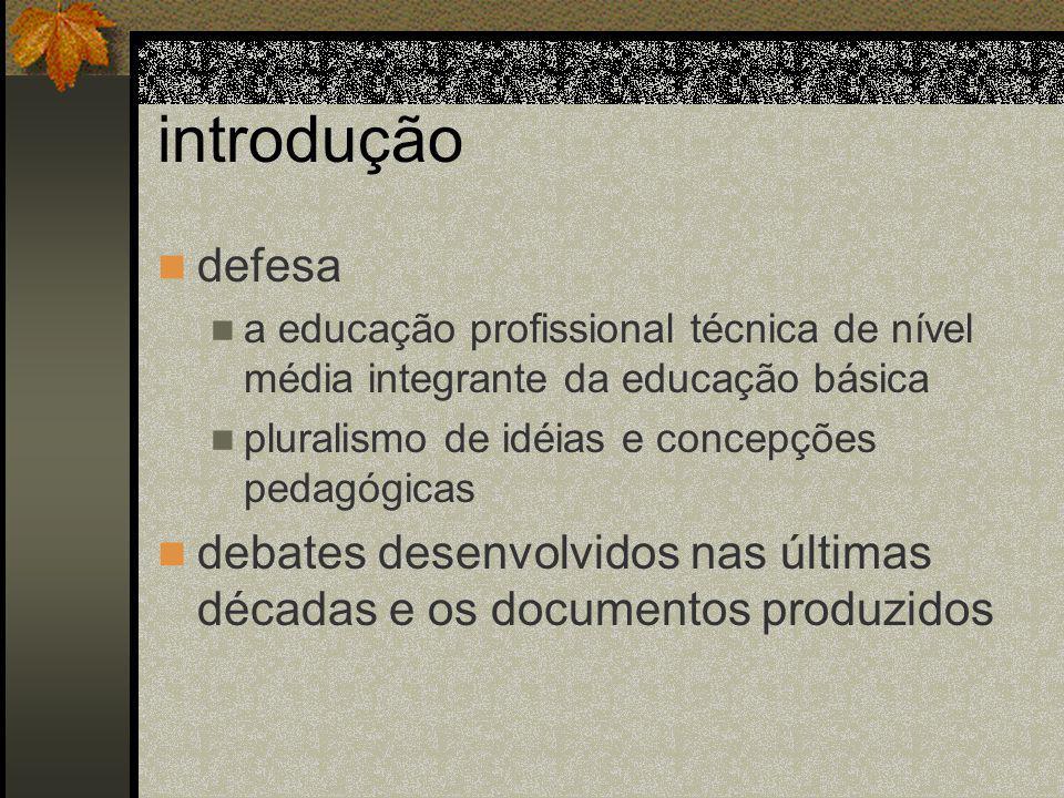 introdução defesa. a educação profissional técnica de nível média integrante da educação básica. pluralismo de idéias e concepções pedagógicas.