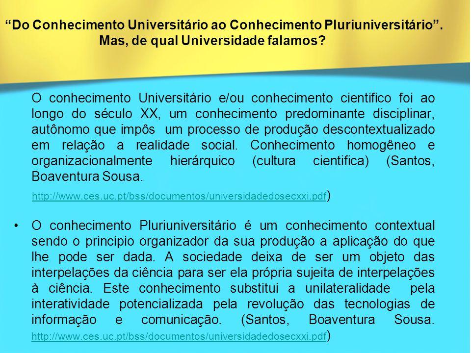 Do Conhecimento Universitário ao Conhecimento Pluriuniversitário .