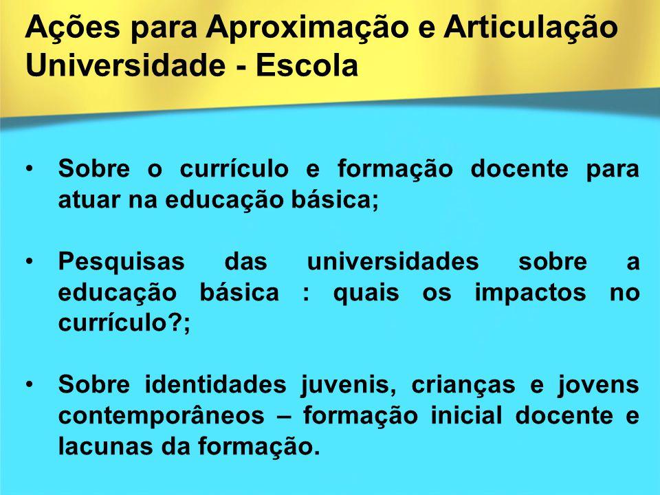 Ações para Aproximação e Articulação Universidade - Escola