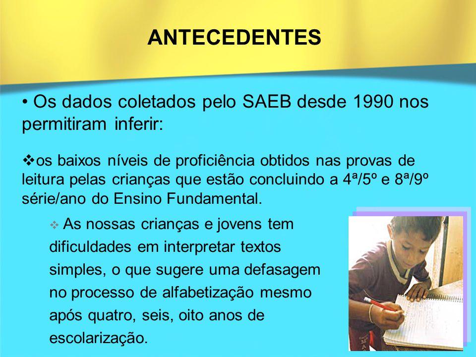 ANTECEDENTES Os dados coletados pelo SAEB desde 1990 nos permitiram inferir: