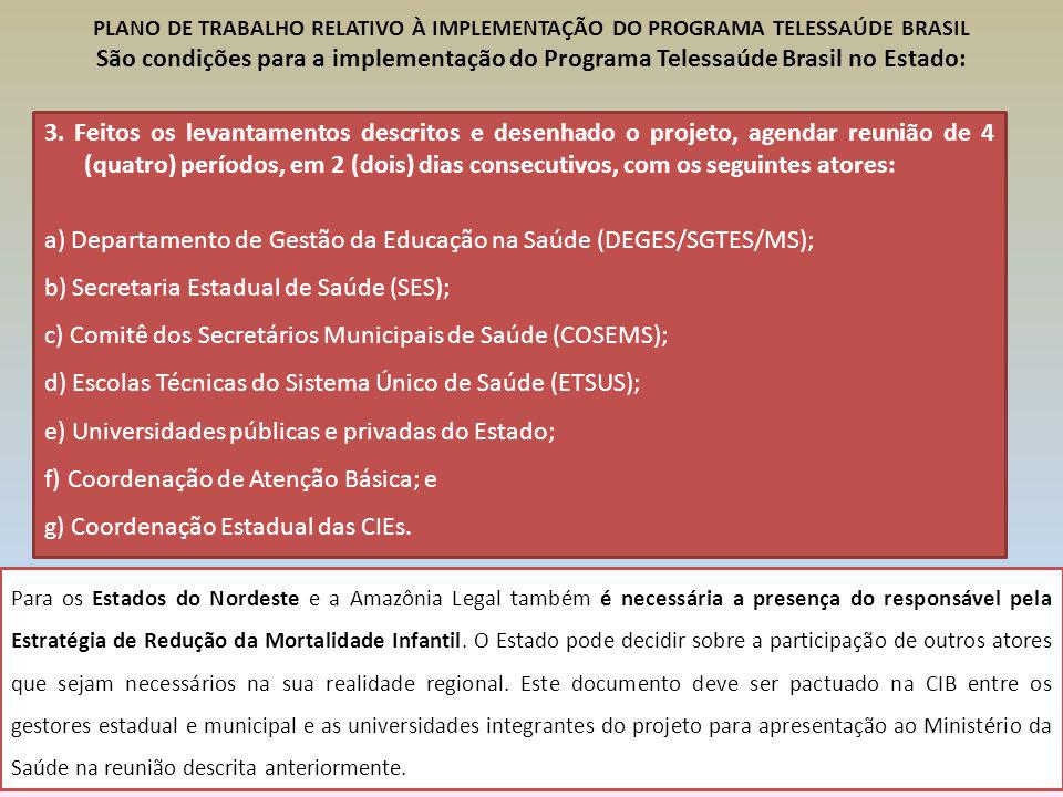 a) Departamento de Gestão da Educação na Saúde (DEGES/SGTES/MS);