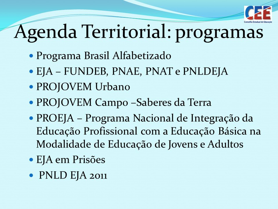 Agenda Territorial: programas