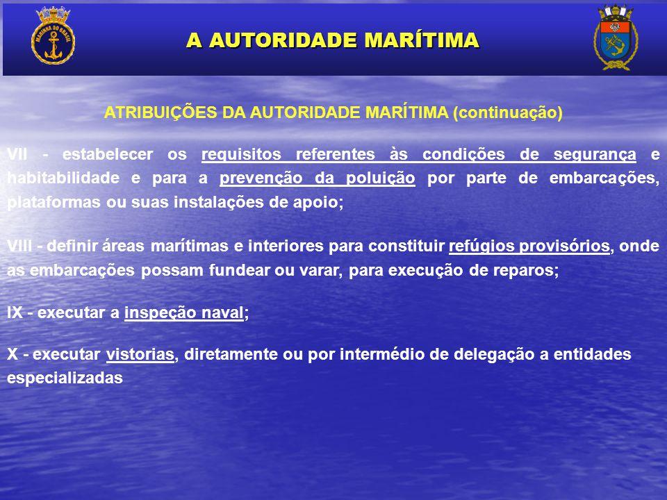 ATRIBUIÇÕES DA AUTORIDADE MARÍTIMA (continuação)