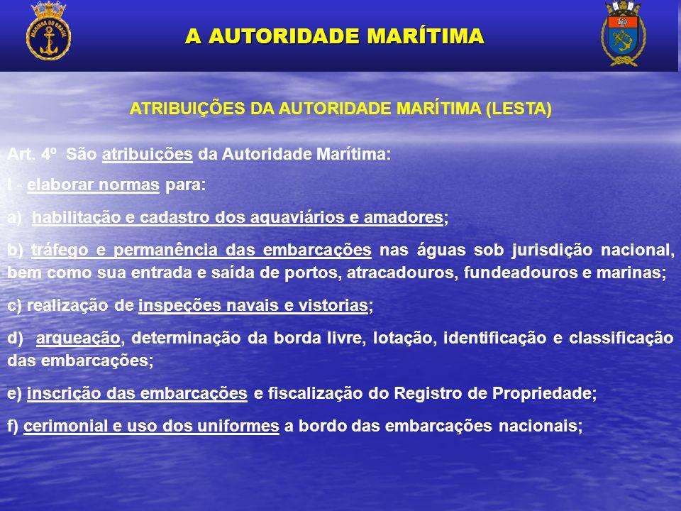 ATRIBUIÇÕES DA AUTORIDADE MARÍTIMA (LESTA)