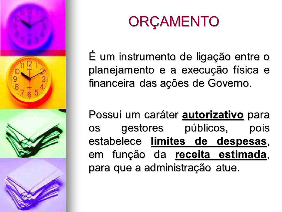 ORÇAMENTO É um instrumento de ligação entre o planejamento e a execução física e financeira das ações de Governo.