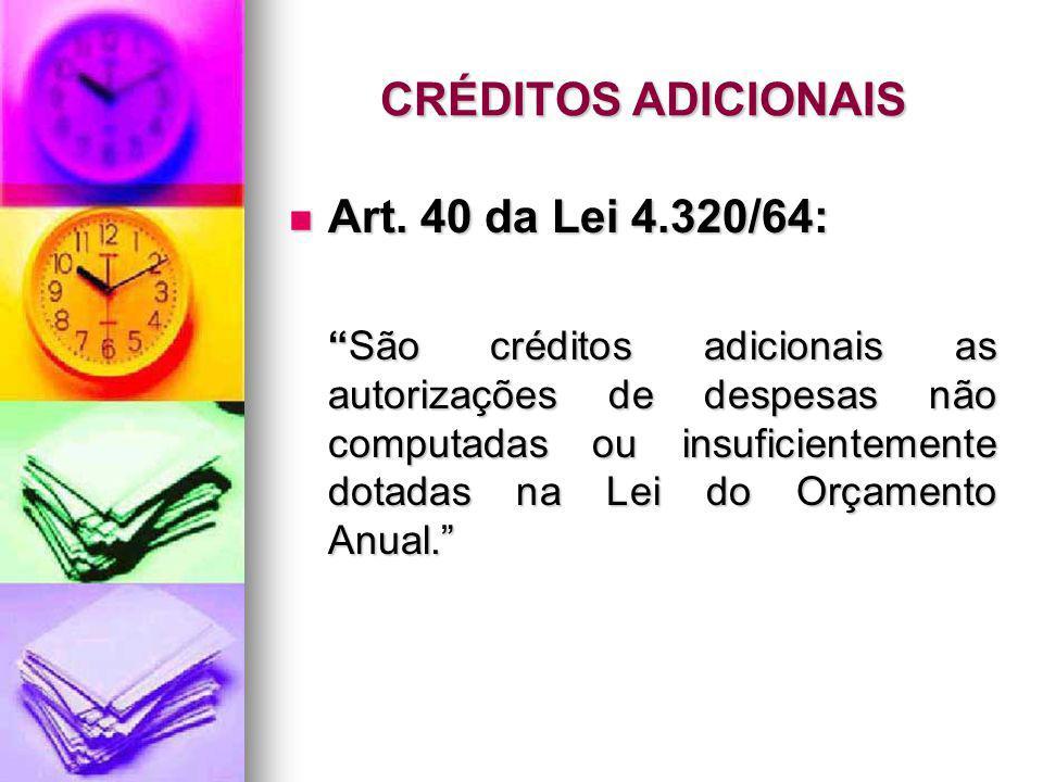 CRÉDITOS ADICIONAIS Art. 40 da Lei 4.320/64: