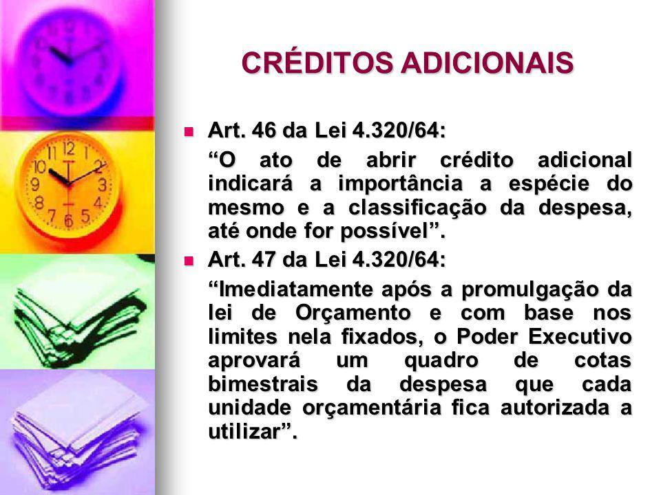 CRÉDITOS ADICIONAIS Art. 46 da Lei 4.320/64: