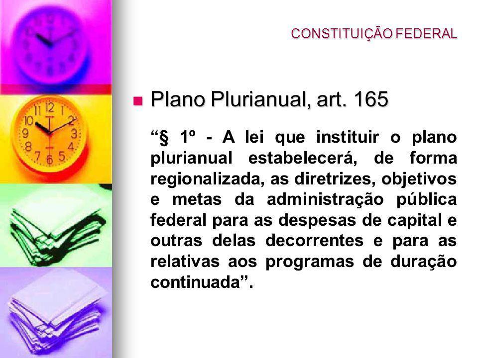 CONSTITUIÇÃO FEDERAL Plano Plurianual, art. 165.