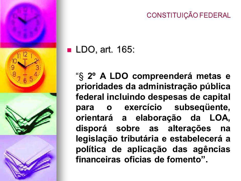 LDO, art. 165: CONSTITUIÇÃO FEDERAL