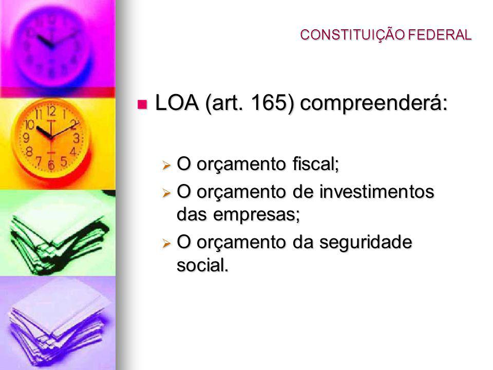 LOA (art. 165) compreenderá: