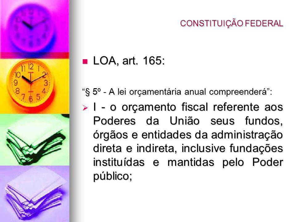 CONSTITUIÇÃO FEDERAL LOA, art. 165: § 5º - A lei orçamentária anual compreenderá :