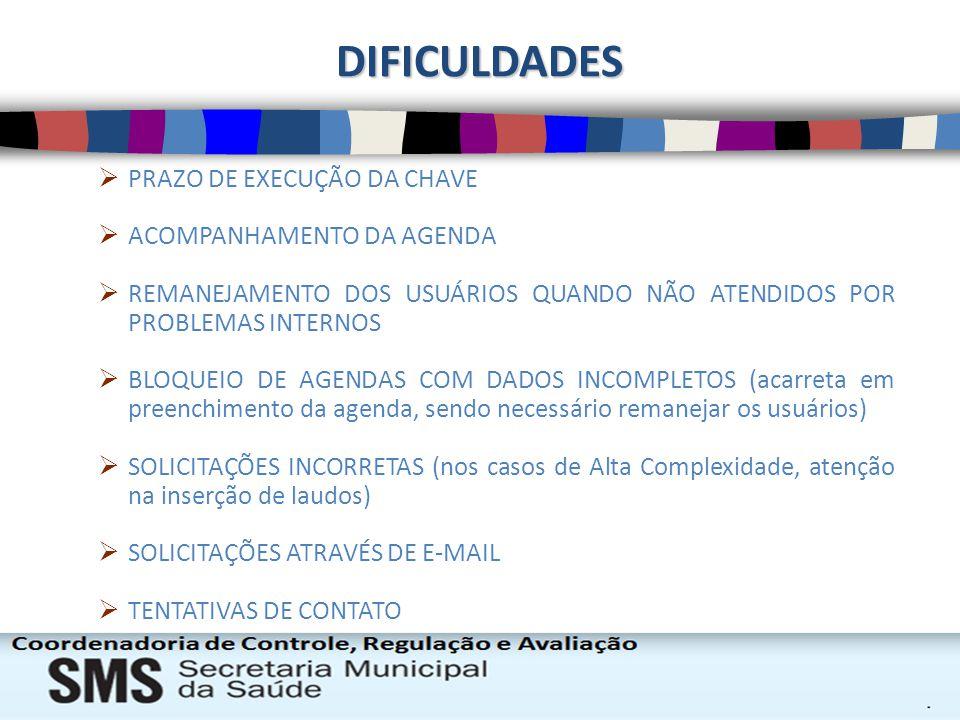 DIFICULDADES PRAZO DE EXECUÇÃO DA CHAVE ACOMPANHAMENTO DA AGENDA