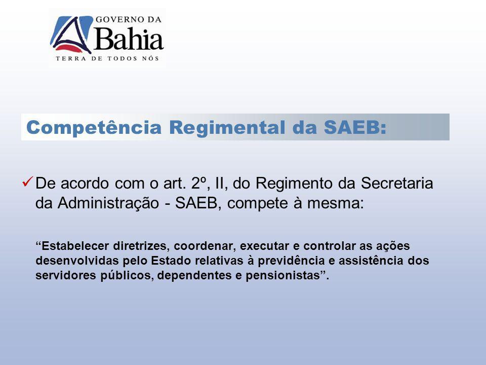 Competência Regimental da SAEB: