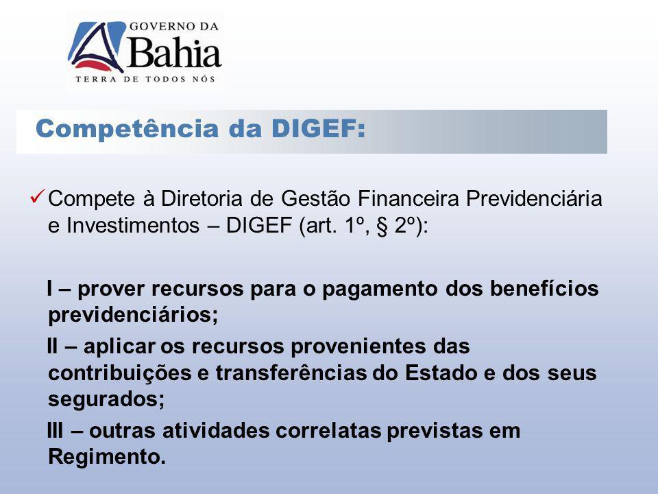 Competência da DIGEF: Compete à Diretoria de Gestão Financeira Previdenciária e Investimentos – DIGEF (art. 1º, § 2º):