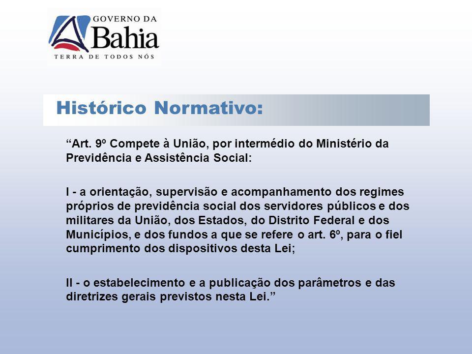 Histórico Normativo: Art. 9º Compete à União, por intermédio do Ministério da Previdência e Assistência Social: