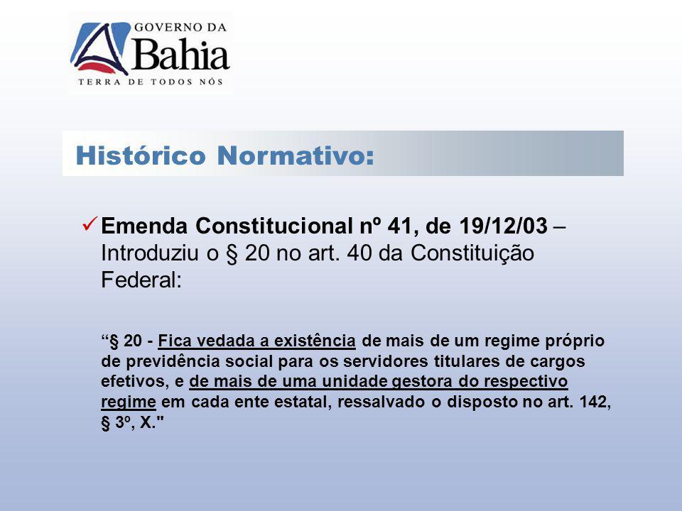Histórico Normativo: Emenda Constitucional nº 41, de 19/12/03 – Introduziu o § 20 no art. 40 da Constituição Federal: