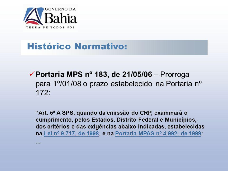 Histórico Normativo: Portaria MPS nº 183, de 21/05/06 – Prorroga para 1º/01/08 o prazo estabelecido na Portaria nº 172: