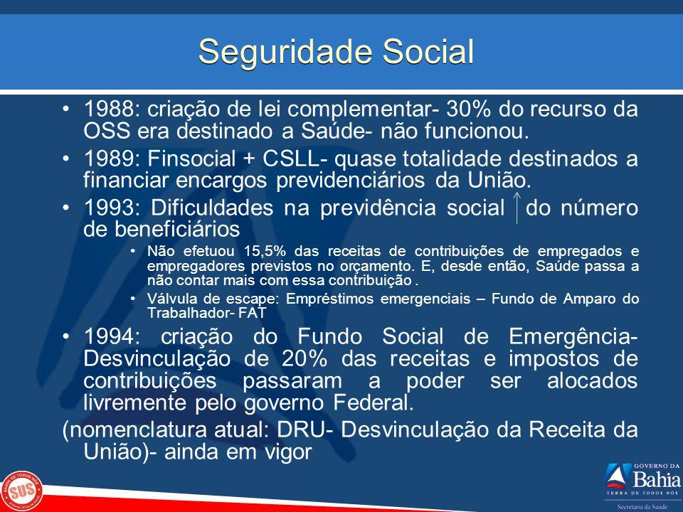 Seguridade Social 1988: criação de lei complementar- 30% do recurso da OSS era destinado a Saúde- não funcionou.