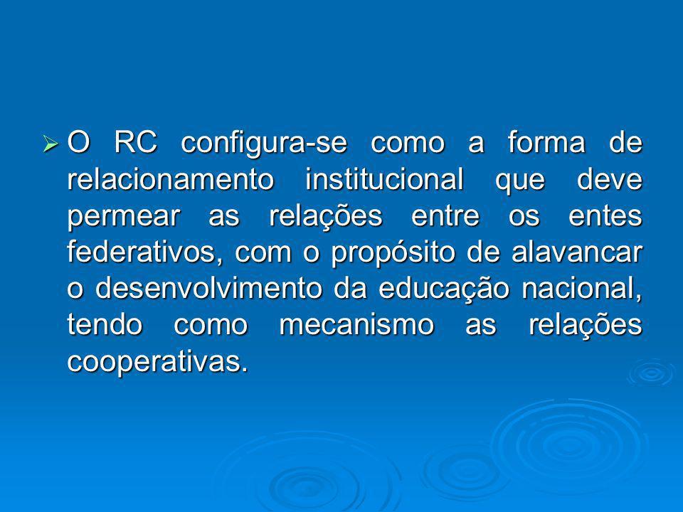 O RC configura-se como a forma de relacionamento institucional que deve permear as relações entre os entes federativos, com o propósito de alavancar o desenvolvimento da educação nacional, tendo como mecanismo as relações cooperativas.