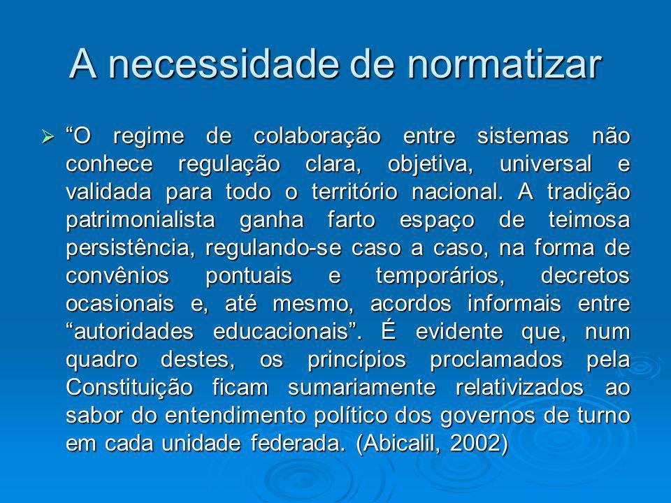 A necessidade de normatizar