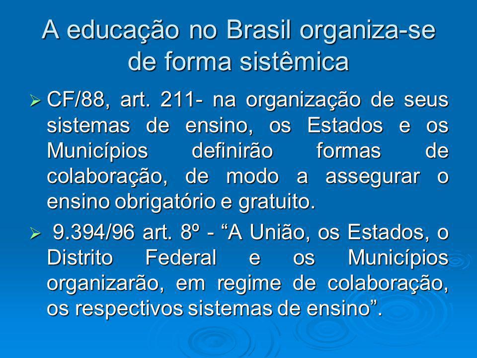 A educação no Brasil organiza-se de forma sistêmica