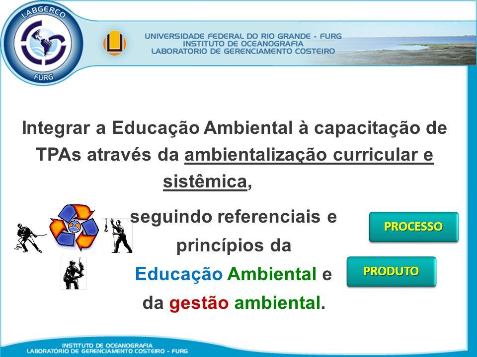 Integrar a Educação Ambiental à capacitação de TPAs através da ambientalização curricular e sistêmica,