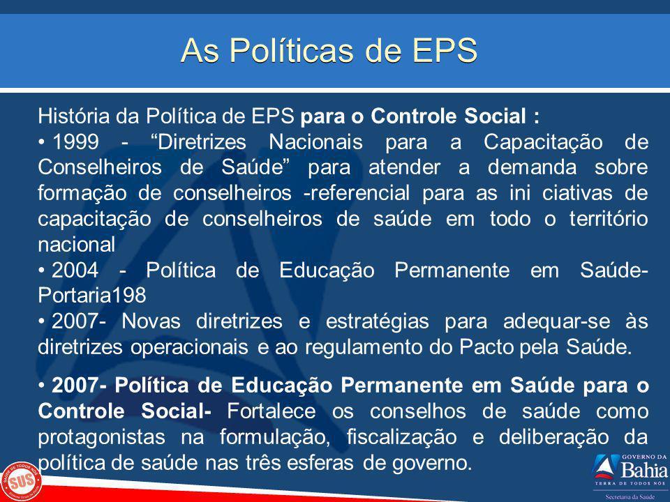 As Políticas de EPS História da Política de EPS para o Controle Social :