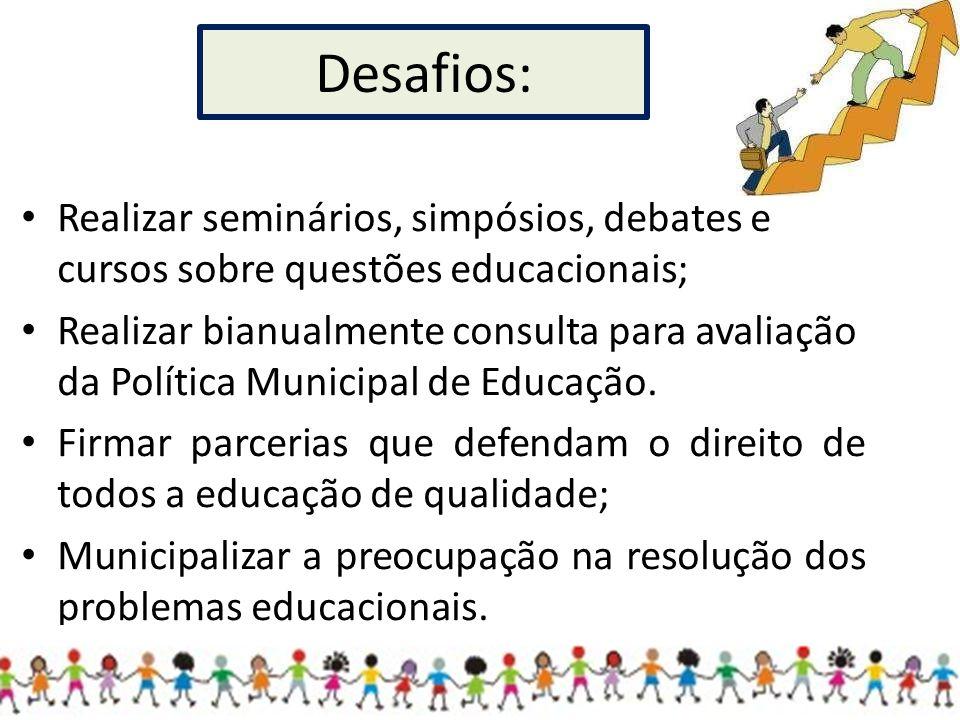 Desafios: Realizar seminários, simpósios, debates e cursos sobre questões educacionais;