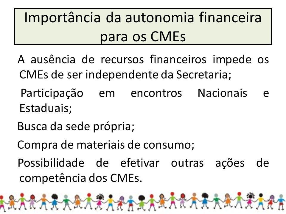 Importância da autonomia financeira para os CMEs