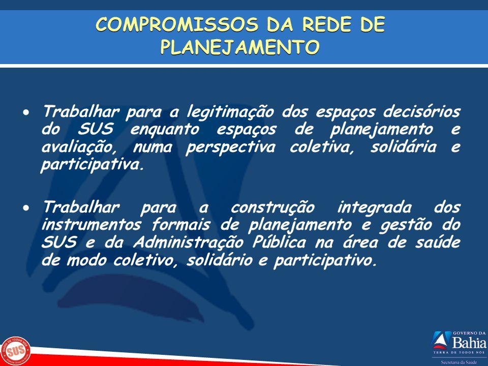 COMPROMISSOS DA REDE DE PLANEJAMENTO