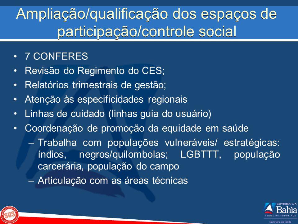 Ampliação/qualificação dos espaços de participação/controle social