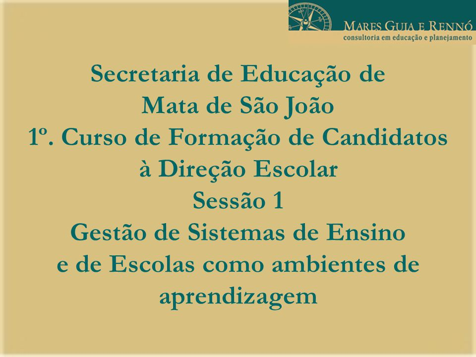 Secretaria de Educação de Mata de São João