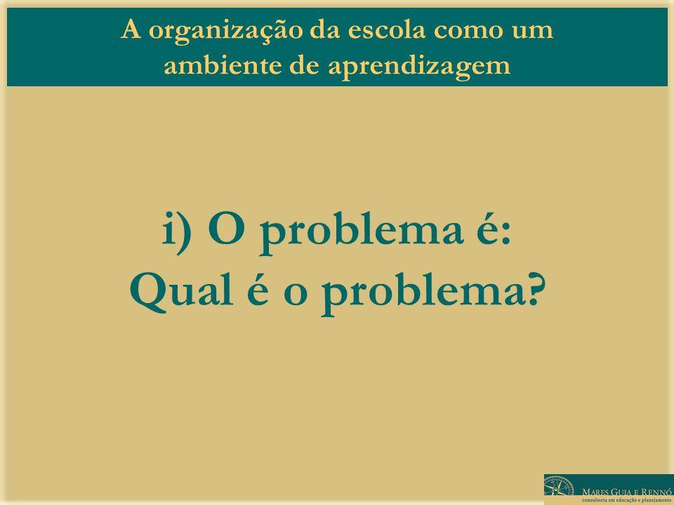 i) O problema é: Qual é o problema