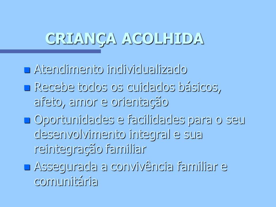 CRIANÇA ACOLHIDA Atendimento individualizado