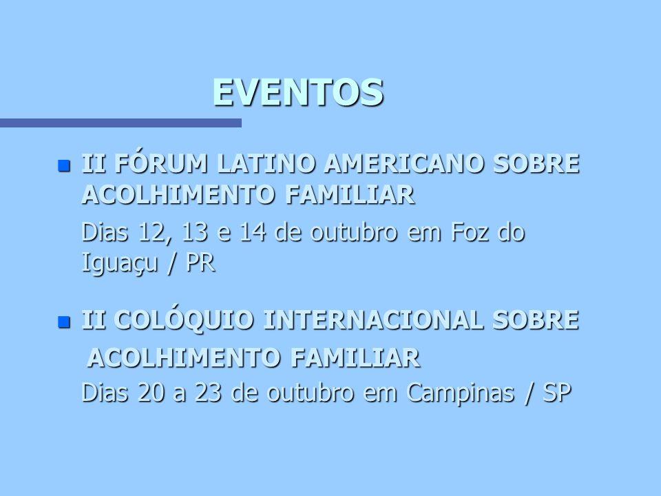 EVENTOS II FÓRUM LATINO AMERICANO SOBRE ACOLHIMENTO FAMILIAR