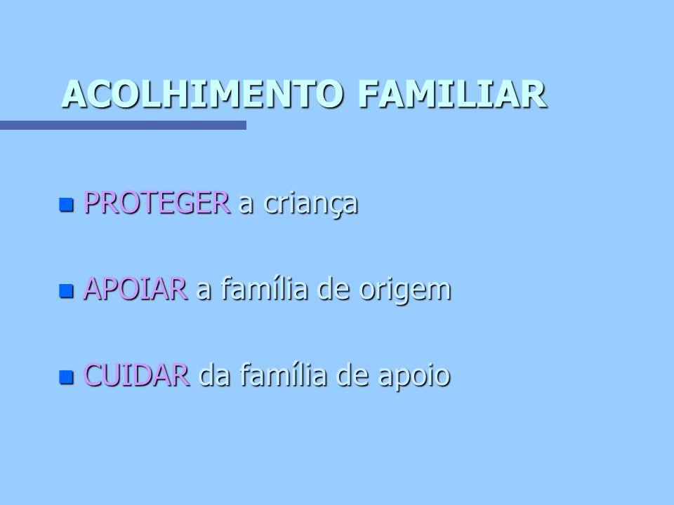 ACOLHIMENTO FAMILIAR PROTEGER a criança APOIAR a família de origem