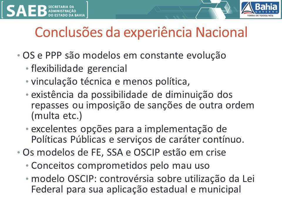 Conclusões da experiência Nacional