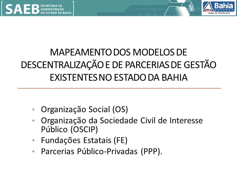 MAPEAMENTO DOS MODELOS DE DESCENTRALIZAÇÃO E DE PARCERIAS DE GESTÃO EXISTENTES NO ESTADO DA BAHIA