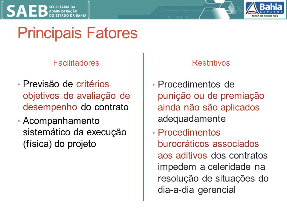 Principais Fatores Facilitadores. Restritivos. Previsão de critérios objetivos de avaliação de desempenho do contrato.