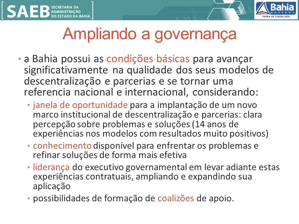 Ampliando a governança