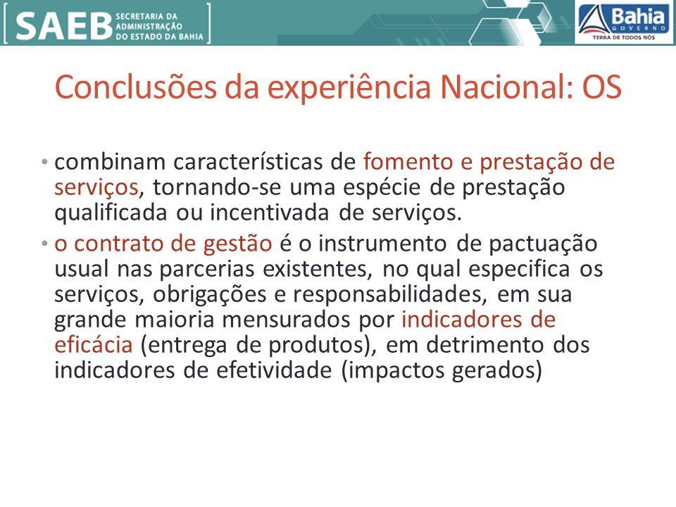 Conclusões da experiência Nacional: OS