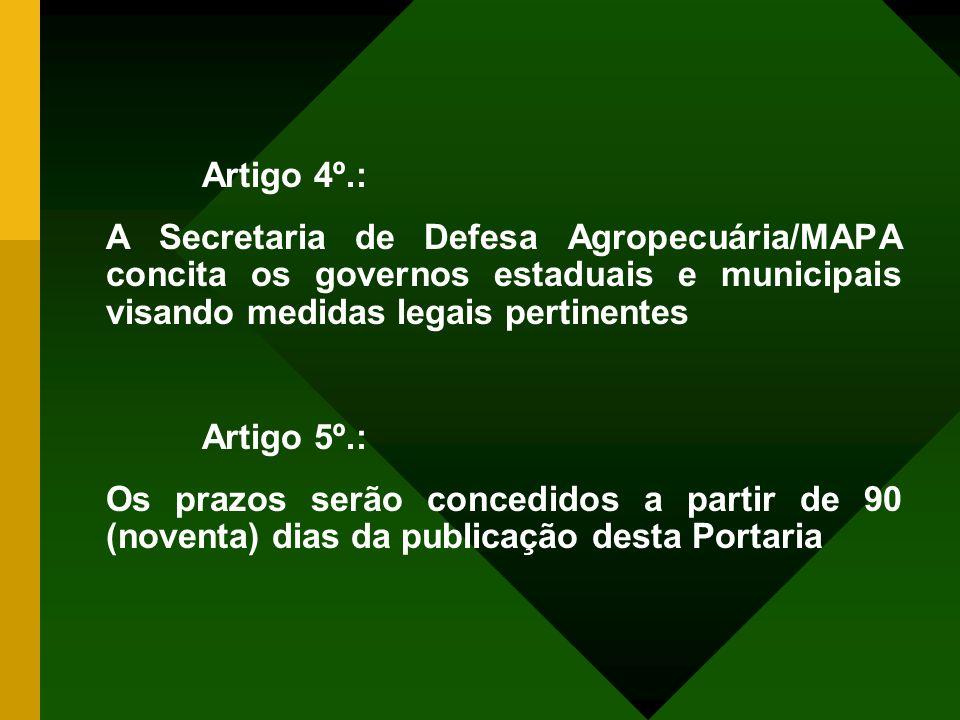 Artigo 4º.: A Secretaria de Defesa Agropecuária/MAPA concita os governos estaduais e municipais visando medidas legais pertinentes.