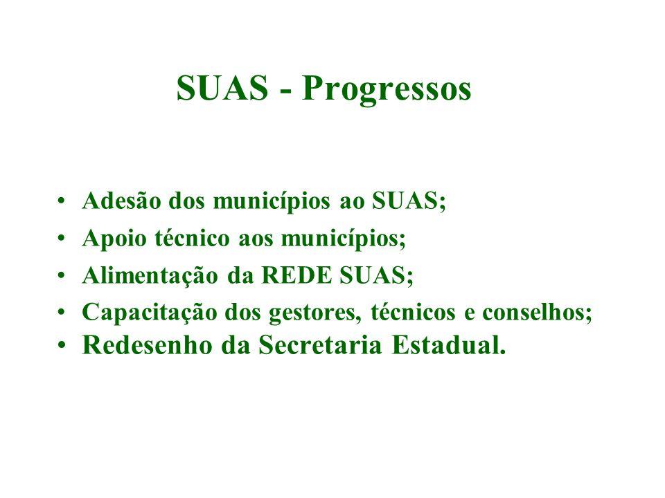 SUAS - Progressos Redesenho da Secretaria Estadual.
