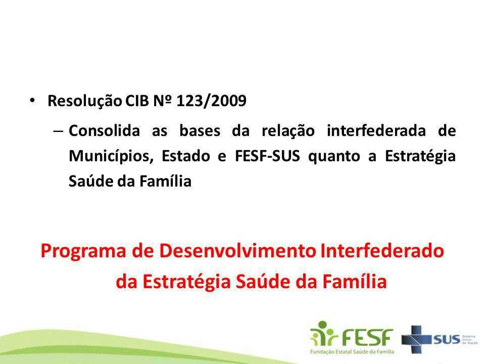 Resolução CIB Nº 123/2009 Consolida as bases da relação interfederada de Municípios, Estado e FESF-SUS quanto a Estratégia Saúde da Família.