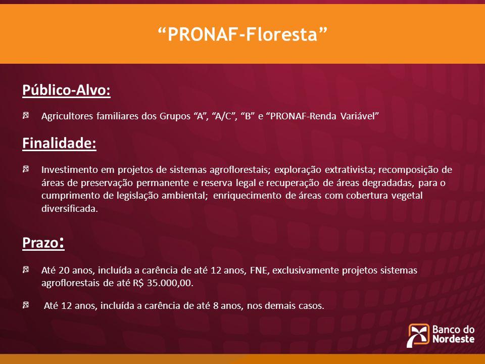 PRONAF-Floresta Público-Alvo: Finalidade: Prazo: