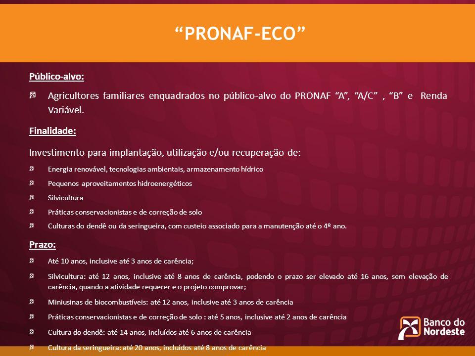 PRONAF-ECO Público-alvo: