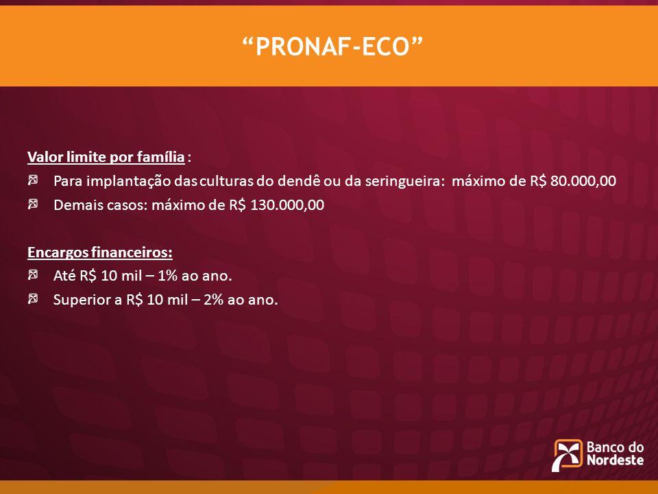 PRONAF-ECO Valor limite por família :