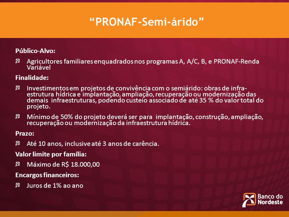 PRONAF-Semi-árido Público-Alvo: