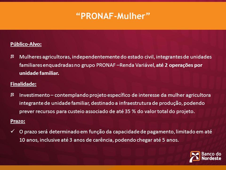 PRONAF-Mulher Público-Alvo: