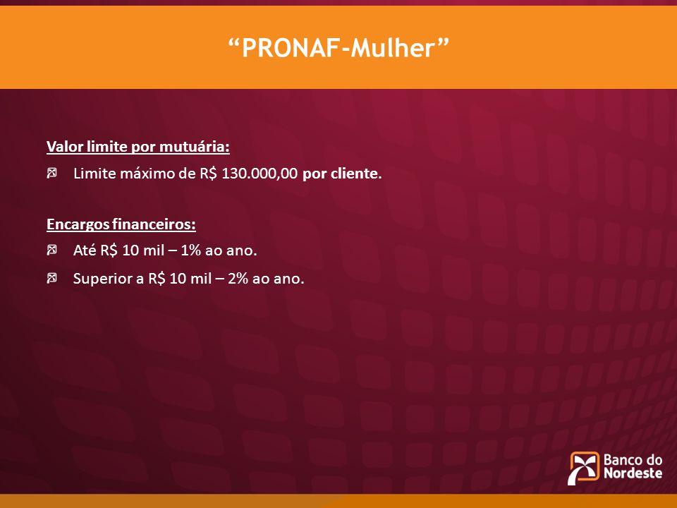 PRONAF-Mulher Valor limite por mutuária: